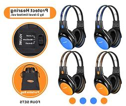 4 Pack of Car Kids Headphones with 3 Levels Volume Limited,