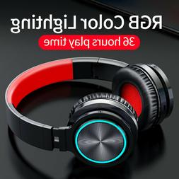 Colorful LED Wireless/Wired Headphones Bluetooth Gaming Earp