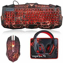 Crack Backlit Gaming Keyboard Mouse And LED Headset Combo,Bl