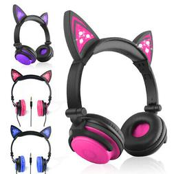 Cute Cat Wireless&Wired Bluetooth Headset Rechargeable On-Ea