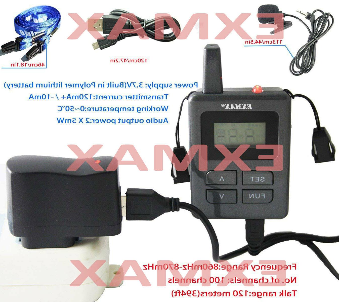 EXMAX 860-870mHz Wireless Tour Guide Mini Ear-hook-1T8R