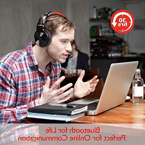 Bluetooth Over OneOdio Stereo Headsets with Detachable for PC, Cell Wireless Headset Hrs Play