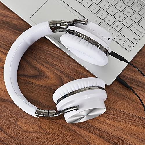 COWIN PRO Active Noise Cancelling Deep Bass Headphones Over Ear 30H Playtime for Travel Work Computer Phone - White