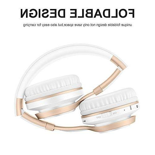 Bluetooth with Mic, HiFi Stereo Foldable Lightweight Wireless Protein Noise TF Card Radio TV