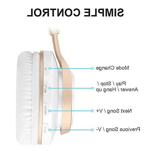 Bluetooth Headphones HiFi Foldable Wireless with Protein Earpads, TF Card FM Radio for PC TV Smartphone