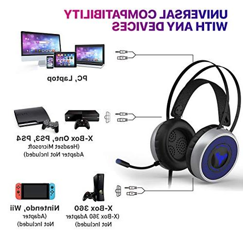 Xbox PS3 PS4, Soft Breathing Earmuffs, Adjustable Microphone, Comfortable Volume 3.5mm for Nintendo
