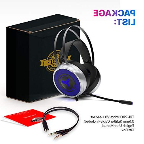 Headset for Xbox One PS3 PS4, PC with Soft Microphone, Comfortable Mute & Volume Control, 3.5mm Adapter for