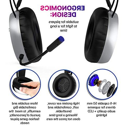Gaming for Xbox PS4, with Soft Earmuffs, Adjustable Microphone, Comfortable Volume for