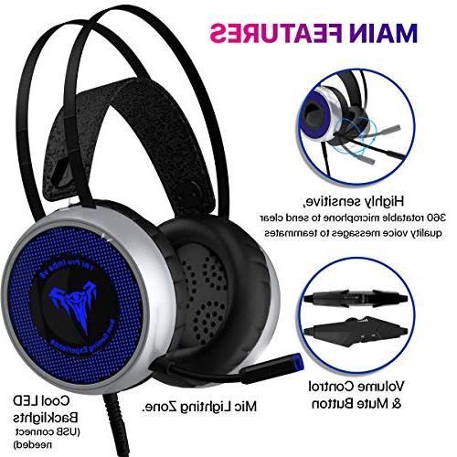 Headset Xbox PS3 PS4, PC with LED Soft Breathing Adjustable Microphone, Volume Control, for Laptop, Nintendo
