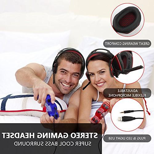 Gaming Headset Beexcellent Xbox with Mic, Noise Cancelling Red Gaming LED Light, Bass Laptop,