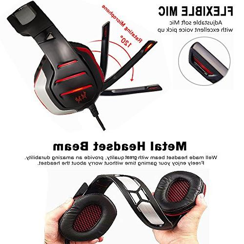 Gaming Beexcellent Xbox with Mic, Noise Over Ear Red Headphones LED Soft Memory Earmuffs Laptop, Mac,