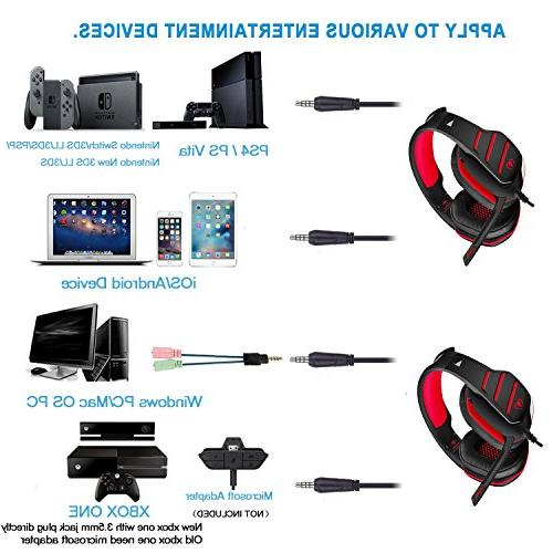 Gaming Beexcellent One with Noise Over Ear Red LED Light, Soft Memory Earmuffs Laptop, Mac,