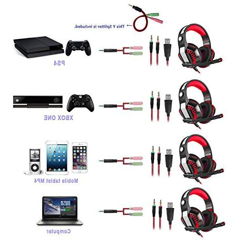 Beexcellent Pro Gaming Over-Ear with LED Lights and Volume Control Stereo Noise Cancelling, for Xbox Laptop, PC, Tablet,