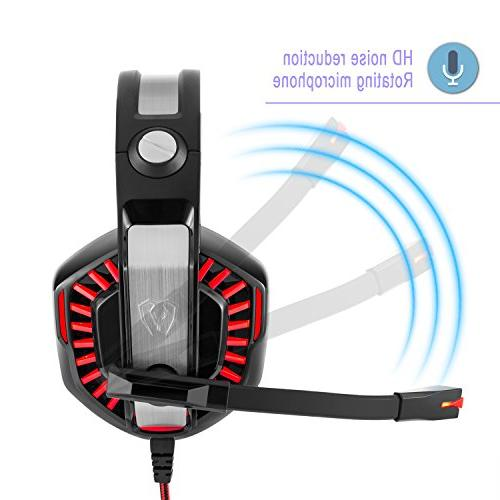 Over-Ear Mic, LED Lights and Volume Control Cancelling, Xbox One, Tablet, Most