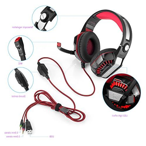 Beexcellent GM-2 Over-Ear Headset LED and Control Stereo Bass, Noise Cancelling, Xbox One, Tablet, Most