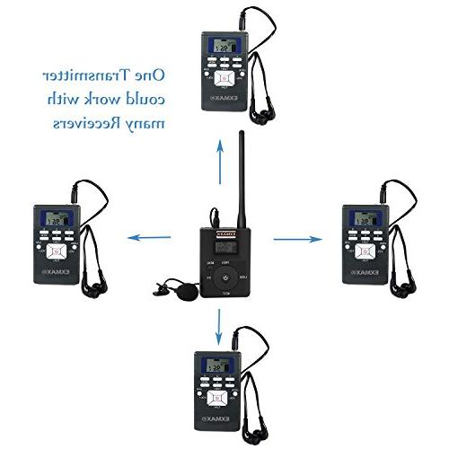 EXMAX 60-108MHz Portable Stereo Headsets Radio Broadcast System Tour Guide Teaching Training Travel Interpretation - 1 Transmitter 10 Gray