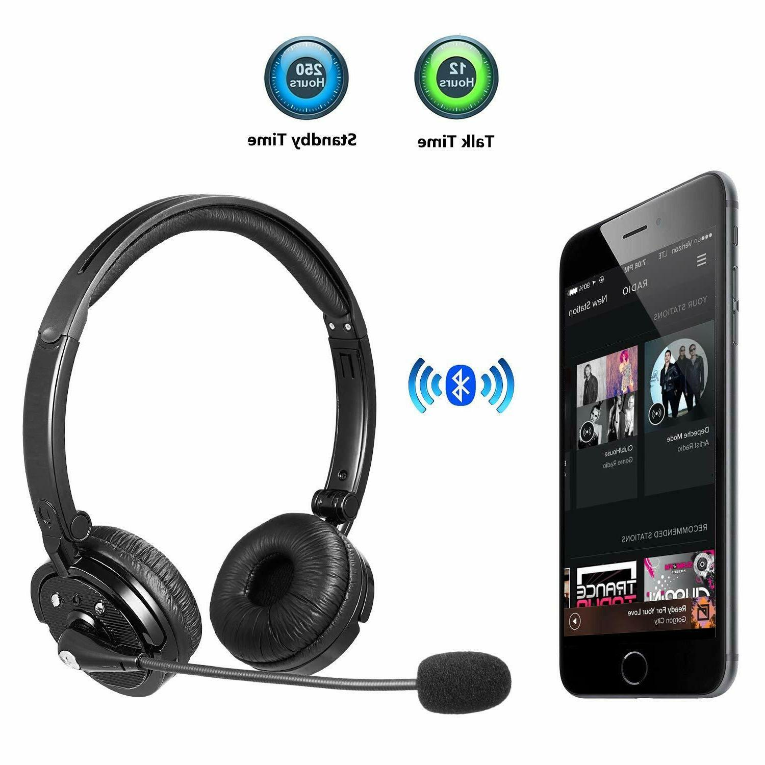 Trucker Bluetooth Headset Wireless Cell Phone Office Headpho