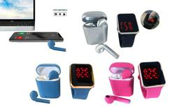 Zummy LED Touch Watch and Wireless Headphones with Portable