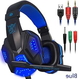 Ocamo Over Ear Gaming Headset with Mic and LED Light for Lap