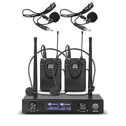 UHF Wireless Microphone System 2 Channel 2 Lavaliers Lapels