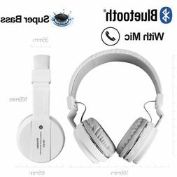 White Foldable Wireless Bluetooth Stereo Headsets With Mic H