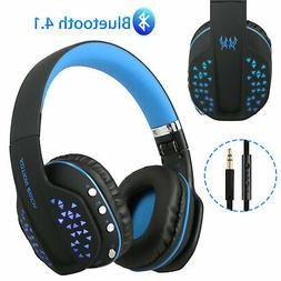 Wireless Blue Gaming Headset for Xbox One PC PS4 With Mic LE