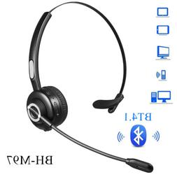 Wireless Bluetooth Headset Boom Mic for Cell Phone Laptop Ta