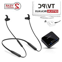 Wireless Neckband Headphones Earbuds Set for TV PC Bluetooth